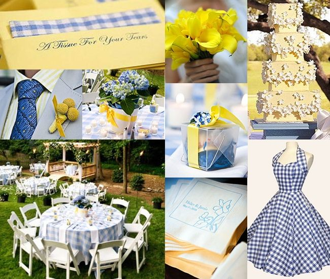 wedding tables yellow gingham | Bright colors, summer wedding reception ideas?