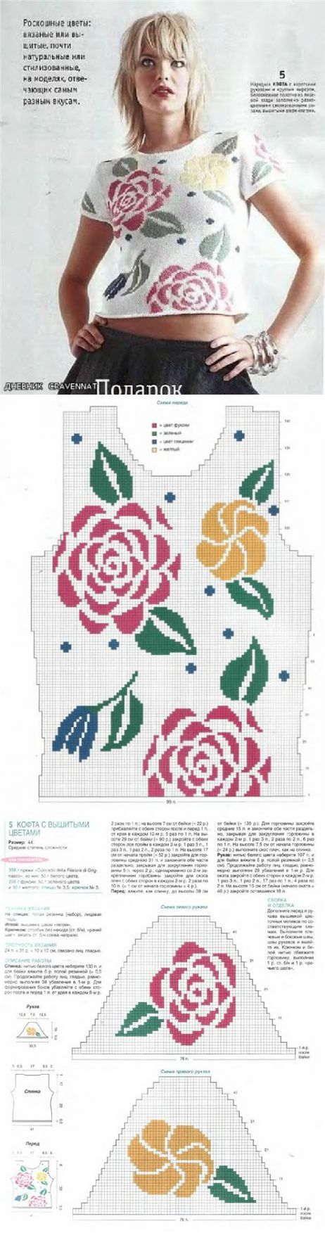 Розы - жаккард спицами (подборка)