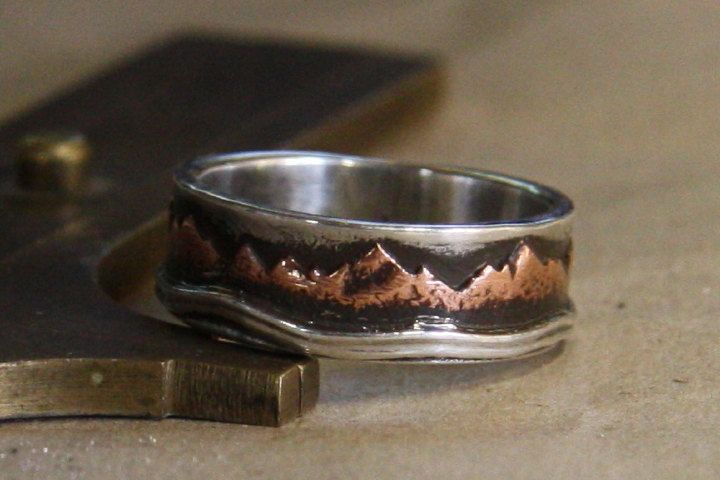Mountain Lake. Mans rustic engagement wedding ring of sterling silver and copper. by IrinisWorld on Etsy