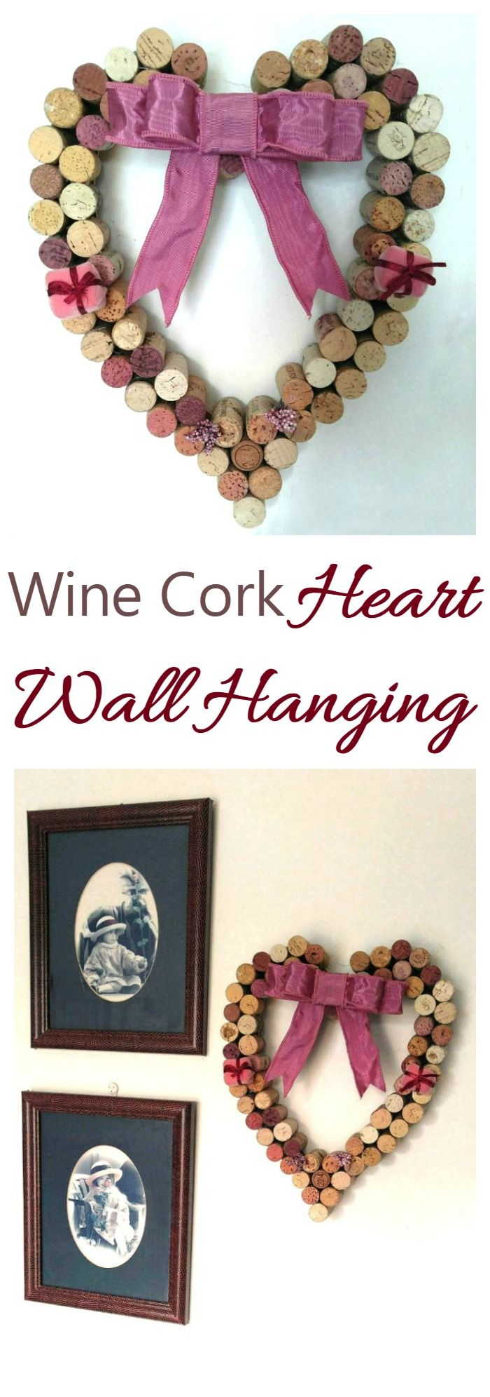 This Wine Cork Heart Wall Hanging goes beautifully with these framed photos made from anniversary cards.  It makes a romantic home decor item.