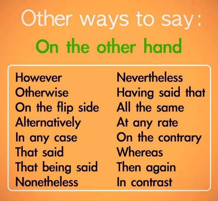 Other ways to say: On the other hand.        Repinned by Chesapeake College Adult Ed. Free classes on the Eastern Shore of MD to help you earn your GED - H.S. Diploma or Learn English (ESL).  www.Chesapeake.edu