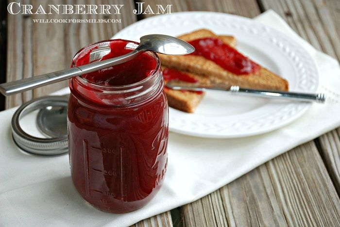 Homemade Cranberry Jam | from willcookforsmiles.com | #cranberry #jam #homemadejam