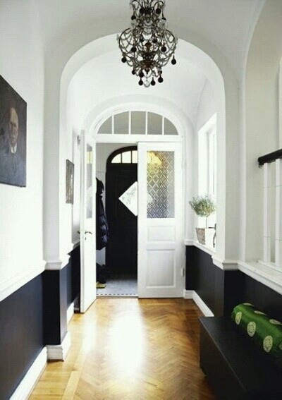 Black below chair rail- black, white and green bathroom