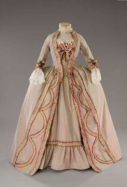 Gown used in Marie Antionette-depicts something that would have been worn in the 1780s.