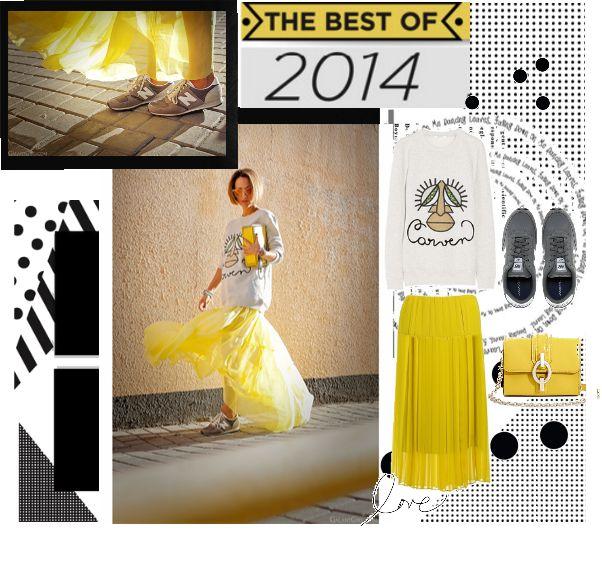 Серо-желтый лук с юбкой и кроссовками. yellow look, fashion 2015