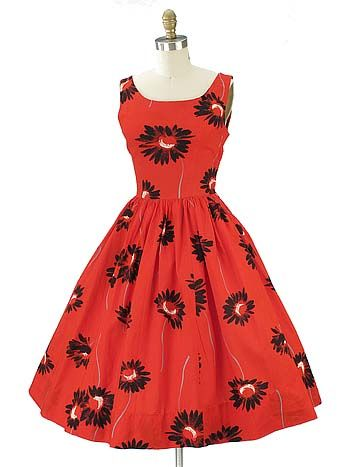 Stand out from the crowd in this fab floral print full dress by Teena Paige. Authentic, one of a kind vintage circa late 50s/early 60s era.