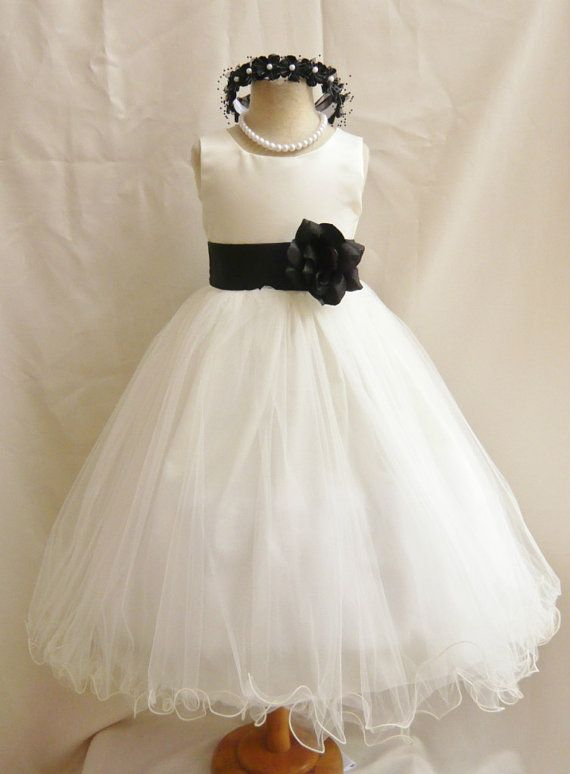Flower Girl Dresses  IVORY with Black FD0FL  by NollaCollection