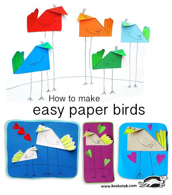 How to make easy paper birds | krokotak