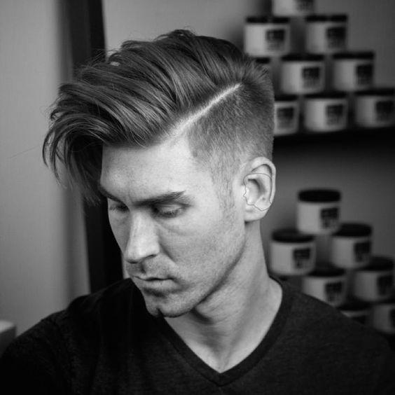 medium hair with fade pompadour hair cut