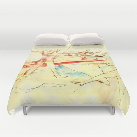 A modern duvet cover with a paragliding illustration
