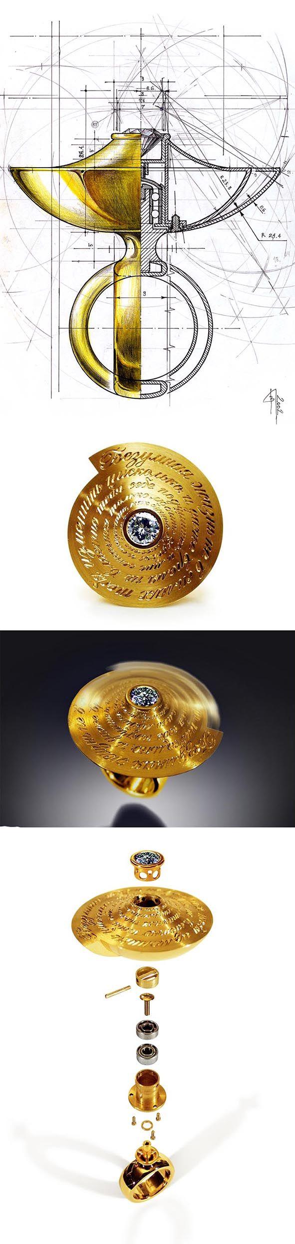 "VLAD GLYNIN jewellery - vladglynin.com - Ring ""Rotation"", 2003. Yellow gold, titanium, steel (bearings), diamond. The top of the ring is spinning / Кольцо ""Вращение"", 2003 г. Жёлтое золото, титан, сталь (подшипники), бриллиант. Верхушка кольца вращается / Anello ""Rotazione"", 2003. Oro giallo, titanio, acciaio (cuscinetto), diamante. La parte superiore si ruota"