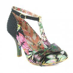 Irregular Choice Bloxy Womens Floral Court Shoes - Black Multi