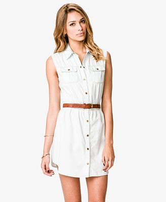 Sleeveless Light Denim Shirtdress | FOREVER21