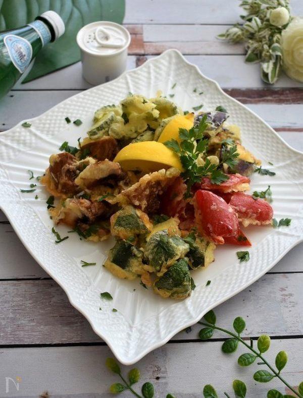 炭酸水でカリッとイタリアンな天ぷら!夏野菜のフリット