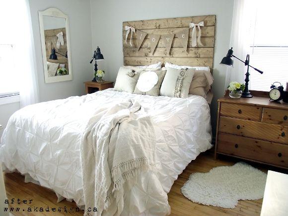 Reclaimed Wood Look Headboard. Rustic Chic BedroomsCountry BedroomsBedroom  Decorating IdeasBedroom ...