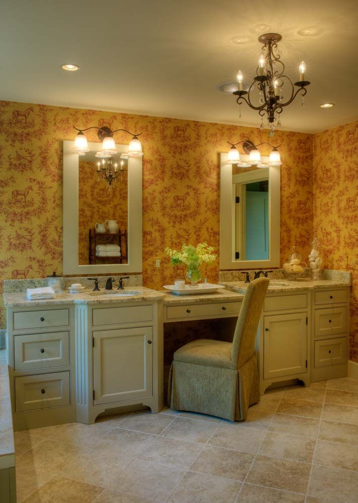 Photography Gallery Sites Custom master bath with seating area and two single vanities Handcrafted from Maple finished