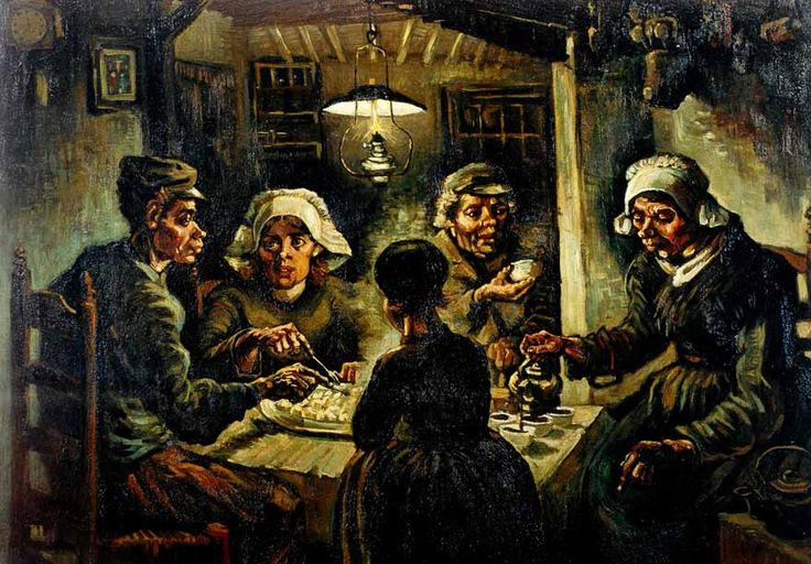 Vincent Van Gogh, The Potato Eaters, 1885 - early work painted in earth tones in contrast to his later landscapes