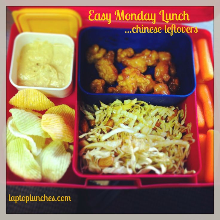 Anna's Easy Monday Menu~ Chinese Leftovers! Lemon Chicken, Cabbage Salad with Peanut Sauce, Veggie Chips, Carrots and Hummus #Bentology #lunchideas