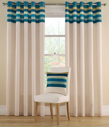 Tropical Teal curtains have a coloured striped band at the top of the curtain, while the main fabric is a neutral creamy-white. The band is a mix of cool, Summer colours in dark blue, apple green, light, dark and mid-tone teal and biscuit. These striking colour combinations will add a fresh new look to your windows and patio doors.