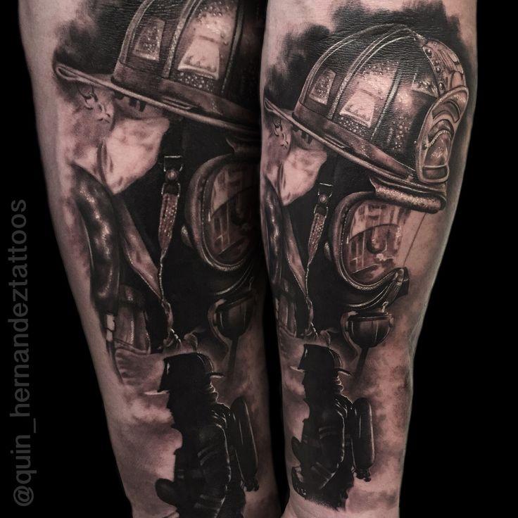 Fireman Tattoo by Joaquin Hernandez. Dallas Texas.