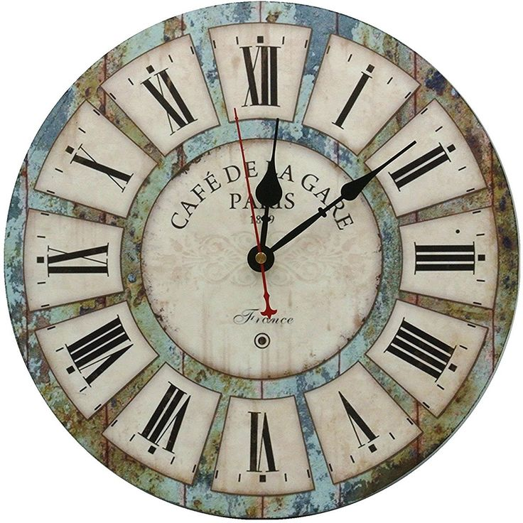 Large Decorative Wall Clock Wood Round Vintage Decor
