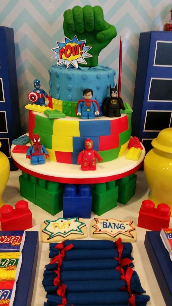 Awesome cake at a superhero birthday party! See more party ideas at CatchMyParty.com!