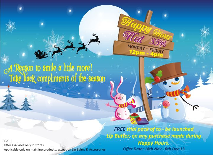 Make your winters happy and warm with our Happy Hours in stores till 6th dec Mon-Fri 12 noon-4 pm….