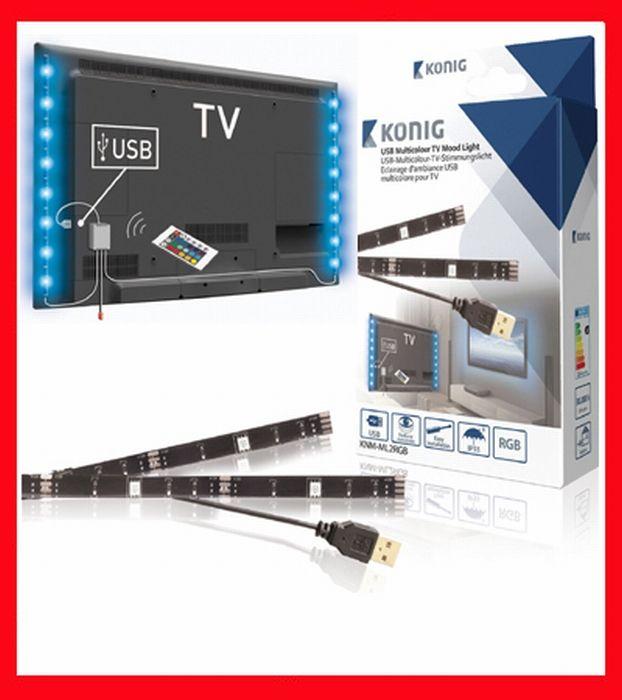 Multicolour mood light LED-strips voor Flatscreen TV's