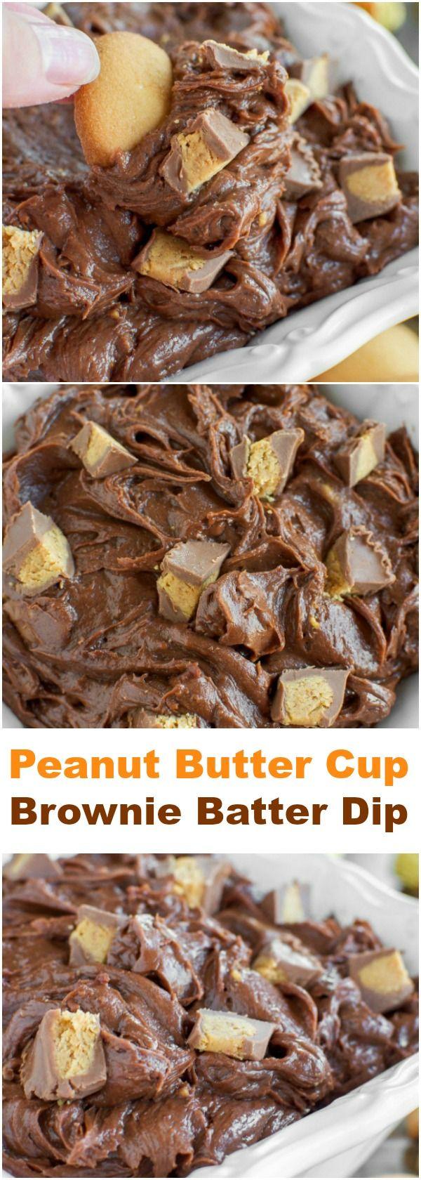 INCREDIBLE Peanut Butter Cup Brownie Batter Dip!!!
