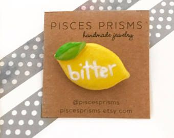 Lemon Pin, Bitter Lemon Pin, Flair, Clay Pin, Lemons, Yellow Clay Lemon Pin, Lemon Flair Button