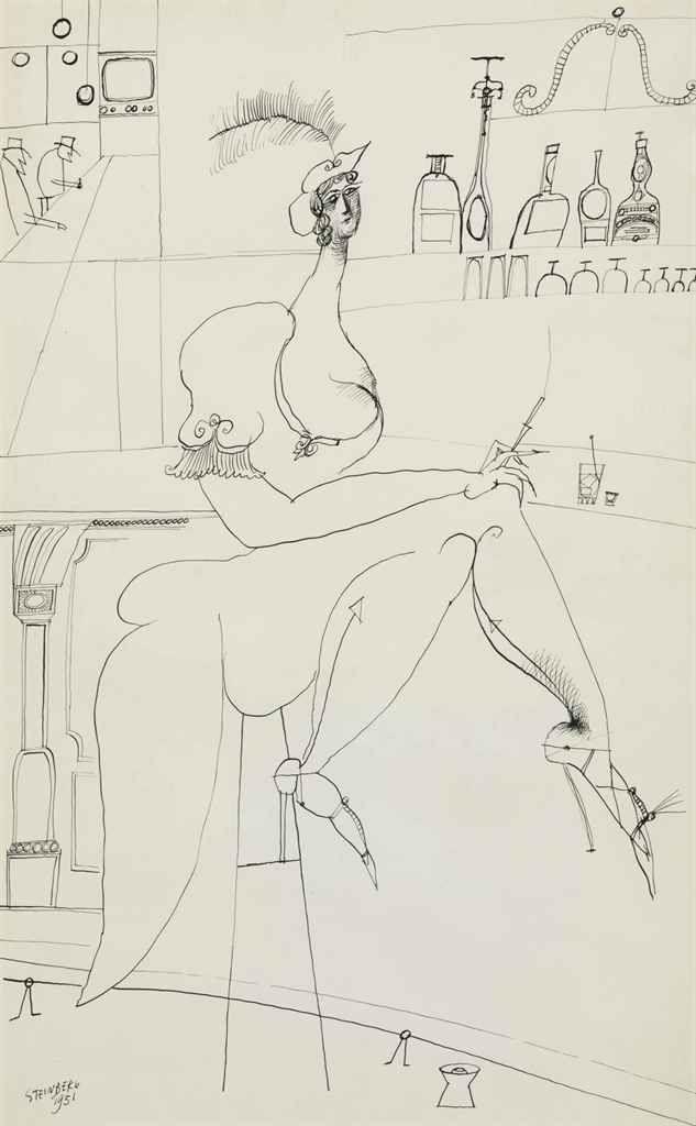 Saul Steinberg (1914-1999)  At the Bar