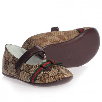Gucci Baby Girls Brown Leather Pre Walker Shoes at
