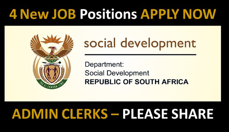 Administration Clerk (4 positions) Department of Social Development, Western Cape http://my.searchsa.co.za/blogs/entry/ADMINISTRATION-CLERK