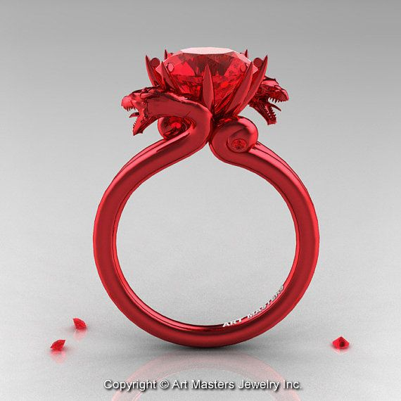 Modern Dragon 14K Red Gold 3.0 Ct Rubies Designer by artmasters, $4259.00