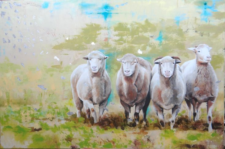"""""""Las ovejas le siguen porque conocen su voz."""" 1,00 x 1,50 mts. Técnica mixta"""
