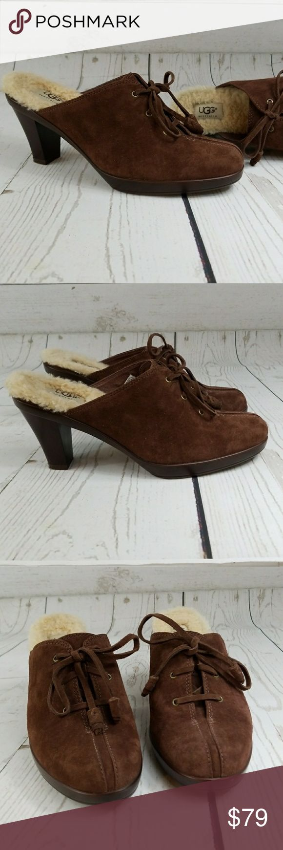 Ugg mules Ugg lace-up mules. Cozy shearling footbed. Cocoa brown suede upper. Nice heel height. Very minor wear on heel cap, otherwise like new condition. Questions welcome. UGG Shoes Mules & Clogs