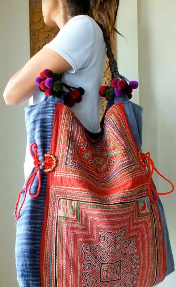 Hmong Ethnic handmade bag vintage work beautiful,Tote Bags, Bohemian Handbags, Unique Bag. $44.99, via Etsy.
