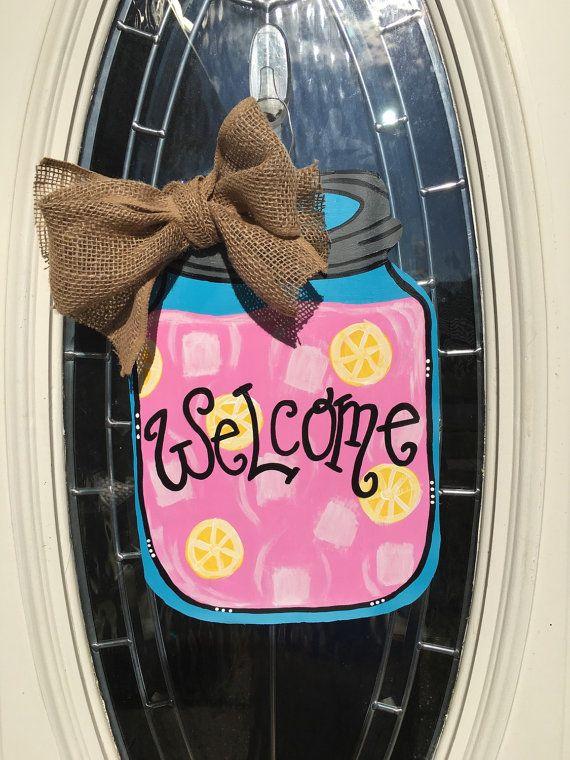mason jar door hanger door sign front door decoration