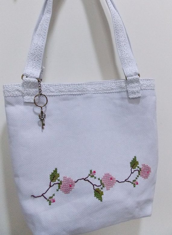 Handmade Retro Shabby Chic Ladies Tote Bag Cross Stitch and Lace Accents