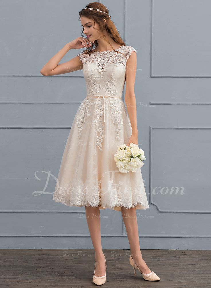 [ 213.99] A-Line Scoop Neck Knee-Length Tulle Lace Wedding Dress With Bow (s) (002117037)