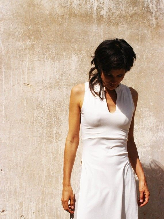 ASIAN lycra/jersey  TUNIC-Womens sleeveless tunic-Made to order-Choose your color-Summer womens tunic in white etsy