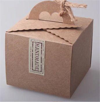 groothandel 20 stuks hartvormige papier dozen snoep handgemaakte kartonnen verpakkingen kraft draagbare dessert cookie-box partij decoratie