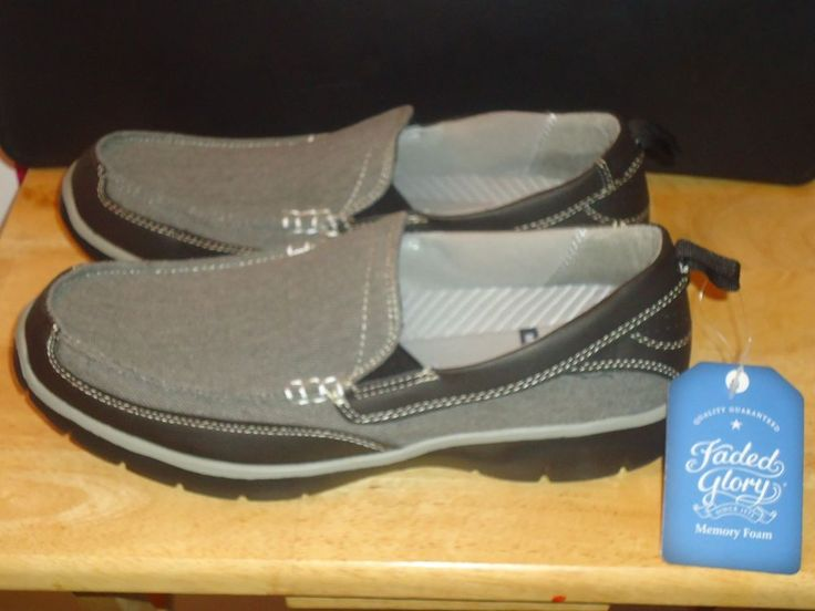 Men's Faded Glory Memory Foam Moccasin Casual Shoes Canvas Gray Size 7 & 12 NEW #FadedGlory #MoccasinsSlipon