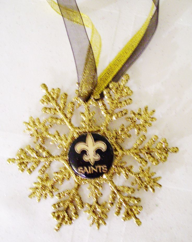 New Orleans SAINTS Football Fans!! Handmade Glitter Snowflake by ZZsTeamTime on Etsy