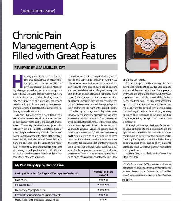 """App Review by Lisa Mueller, DPT-Chronic Pain-""""My Pain Diary"""" App.  Filled with great features! Pinned by SOS Inc. Resources @sostherapy http://pinterest.com/sostherapy."""