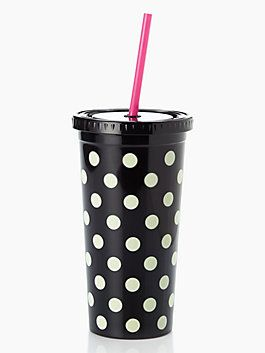 take your favorite iced beverage to go in our polka dot print tumbler. the BPA-, phthalate-, and lead-free construction means you can sip without worry, while the classic le pavilion dot print makes it an instant accessory.