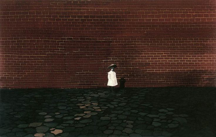Self portrait in front of a Wall (Young Girl in front of a Wall) 1955 Paintings | Lili Orszag paintings