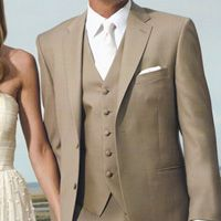 Nice tan tux for a vintage-y burlap-inspired wedding.