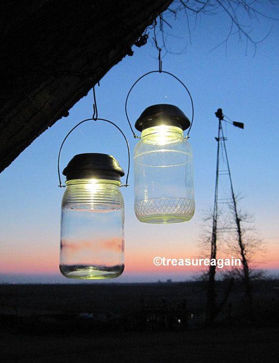 Solar Mason Jar Lights 4x Brighter Solar Lids by treasureagain  http://etsy.me/1hHW3Kt