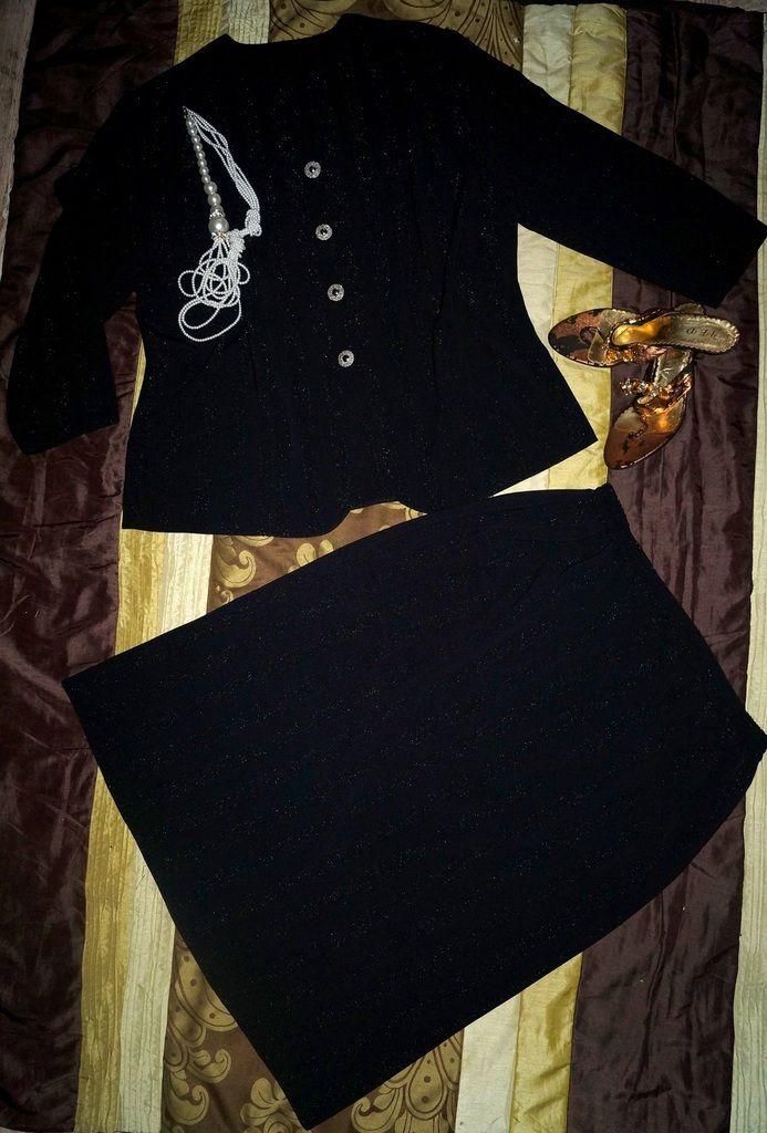 Elegancka wizytowa garsonka kostium czerń 50-52 (5747126520) - Allegro.pl - Więcej niż aukcje.